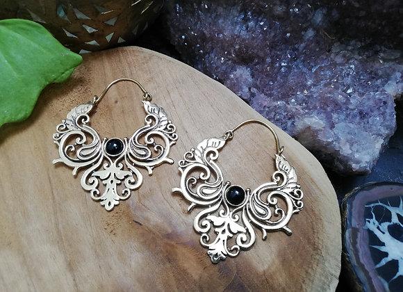 Boucles d'oreilles ornements laiton doré onyx noir