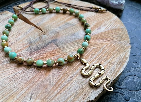 Collier turquoise africaine serpent lunaire