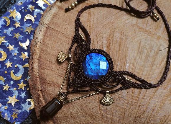 Collier labradorite bleue foncée et fiole