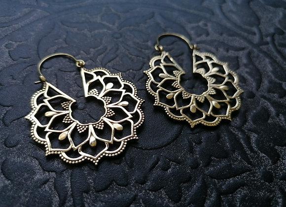 Boucles d'oreilles laiton doré mandala floral