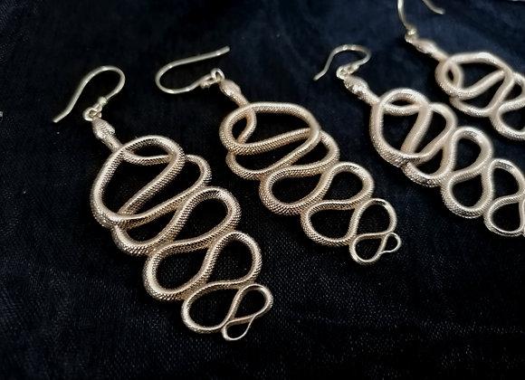 Boucles d'oreilles laiton doré serpents
