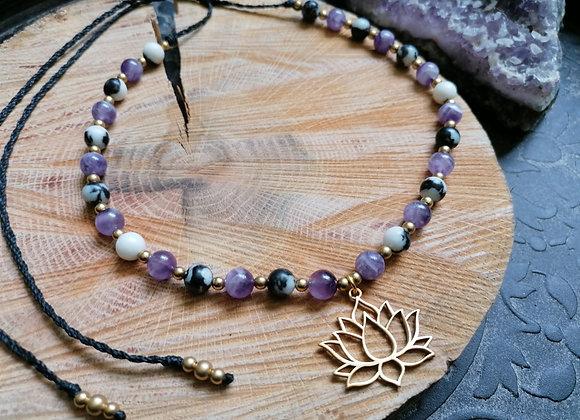 Collier améthyste et jaspe zèbre pendentif lotus