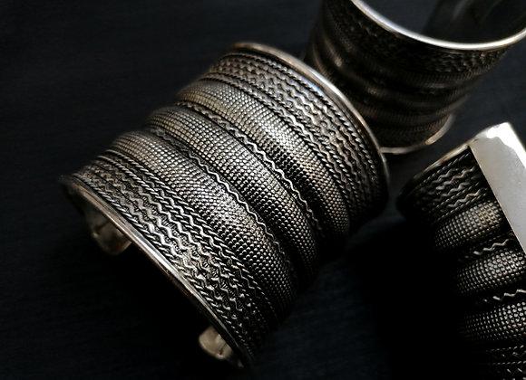 Grand Bracelet manchette plaqué argent