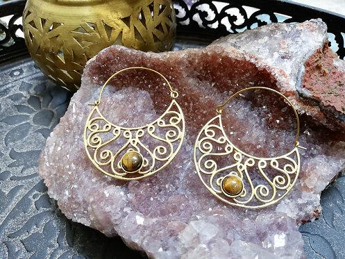 Boucles d'oreilles lune laiton doré oeil de tige