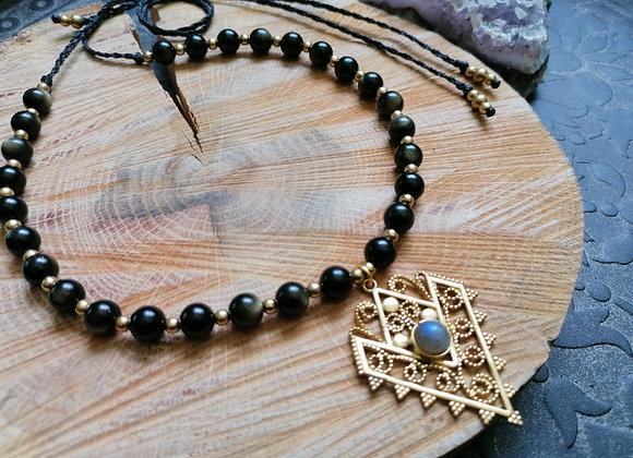 Collier obsidienne dorée pendentif ornemental
