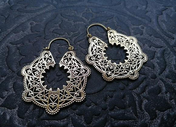 Boucles d'oreilles laiton doré style oriental