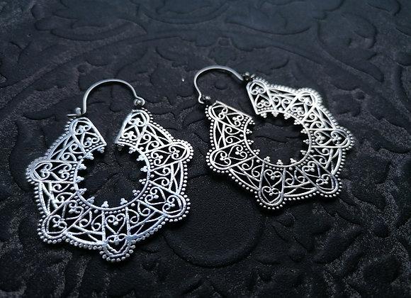 Boucles d'oreilles laiton plaqué argent style oriental