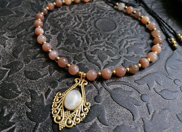 Collier pierre de lune pêche pendentif labradorite blanche