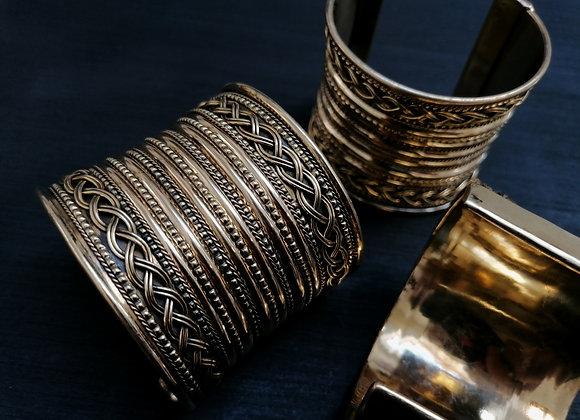 Grand Bracelet manchette laiton doré
