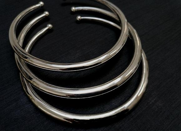 Collier torque simple argenté lisse