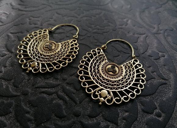 Boucles d'oreilles laiton doré ornementales