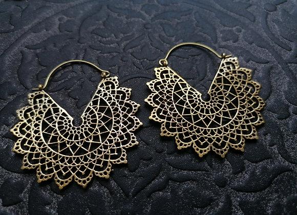 Boucles d'oreilles laiton doré grand mandala