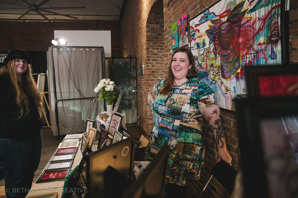 Polly of Kitschy Stitches Gifts sells her fat positive embroidered art.