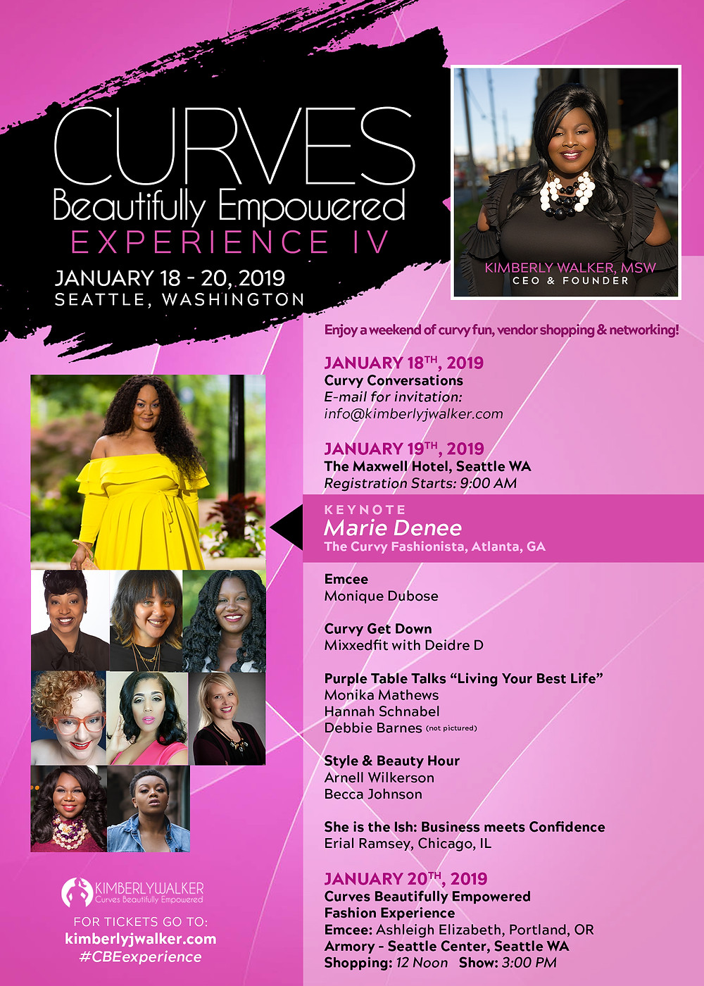 Flyer for Curves Beautifully Empowered with the schedule for the weekend