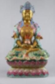 Bouddha en porcelaine et emaux famille r