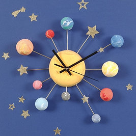 Planet and Stars Wall Clock Party Kit for 4 Children