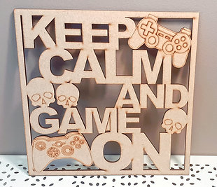 Wooden Gamer Plaque - 'Keep Calm and Game On' Party Box for 6 Children