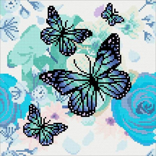 Crystal Art Canvas - Orchid and Butterflies 30x30cm