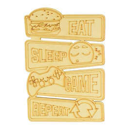 Wooden Gamer Plaque - 'Eat, Sleep, Game, Repeat' Party Box for 6 Children