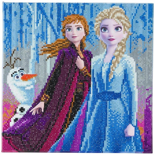 Disney Crystal Art Canvas -Elsa, Anna and Olaf 30x30cm