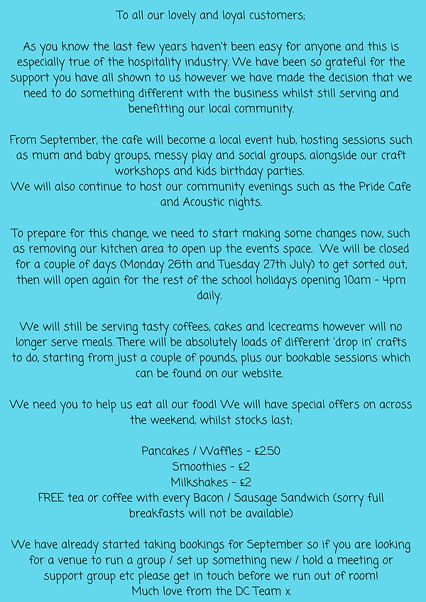 To all our lovely and loyal customers; As you know the last few years haven't been easy fo