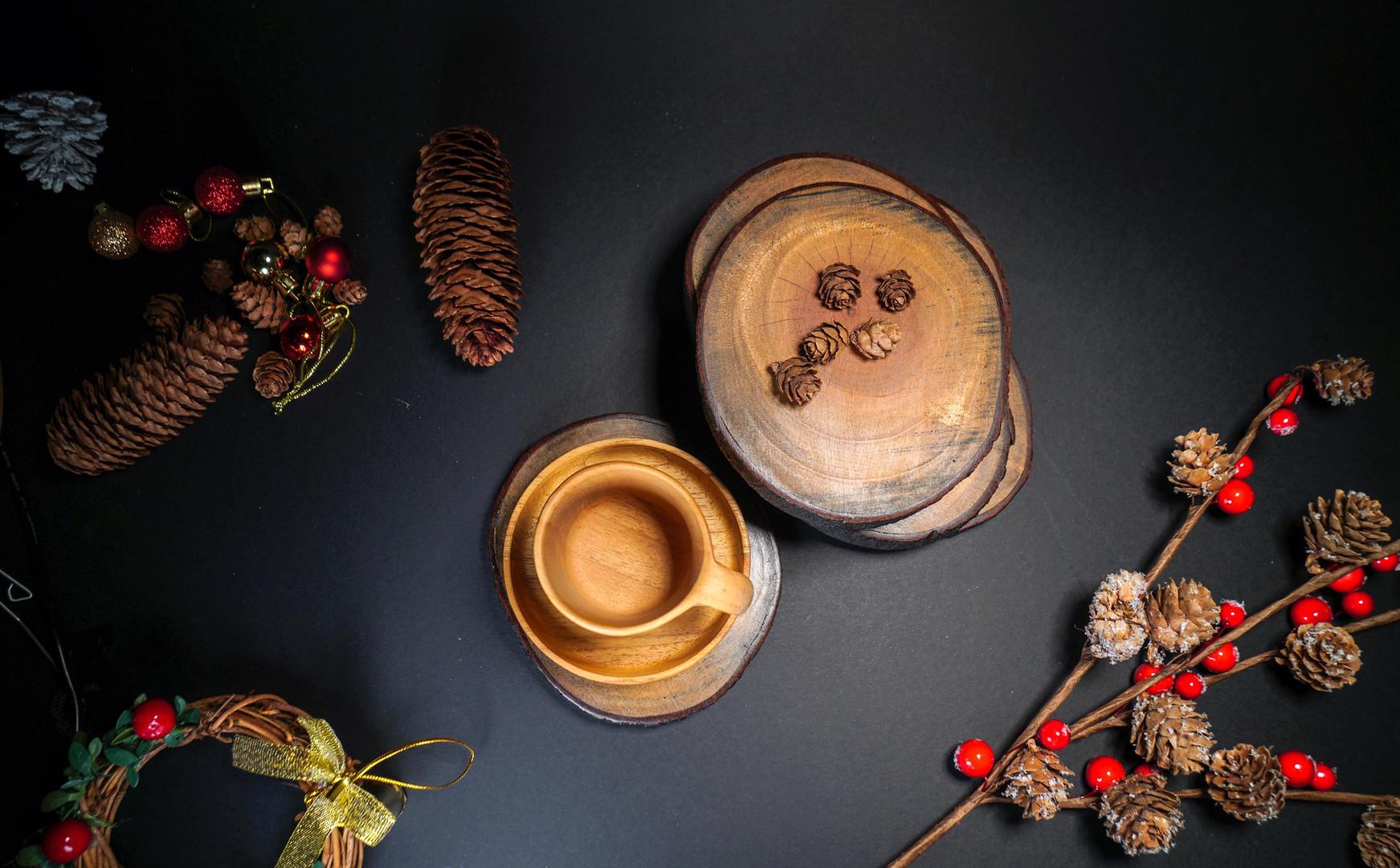 Christmas Wood Coaster & Mug