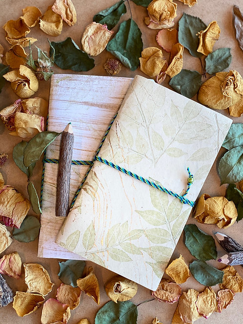 Jute Notebook with Leaf