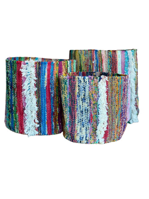 Handmade Cotton & Jute Basket - Set of 3