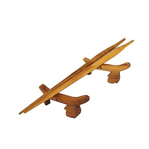 Teak Chopsticks with Leaf Rest