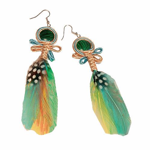 Green Rainbow Feather Danglers
