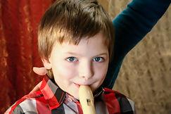 Elementary Boy Recorder Student