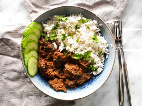 Stoofvlees met basmati rijst en koriander