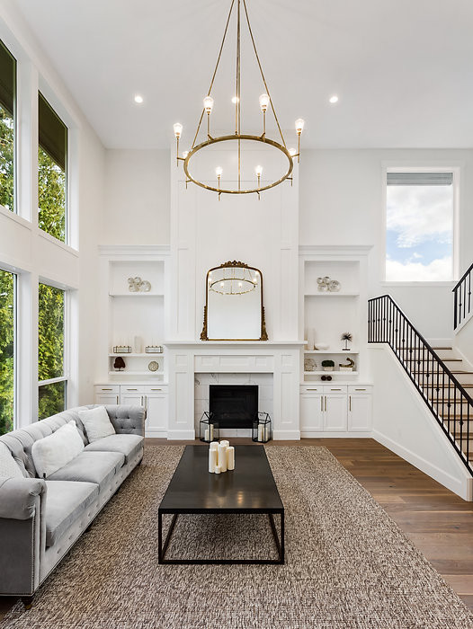 Living Room in Luxury Home with Tall Cei
