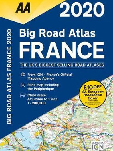 AA Big Road Atlas France 2020