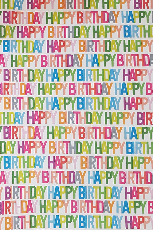 Coloured Happy Birthday Sheet Gift Wrap