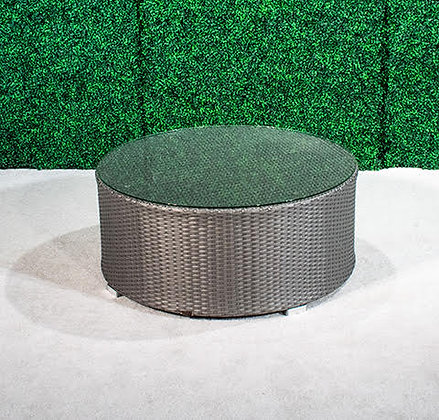 Feruci Grey Large Round Coffee Table w/Glass