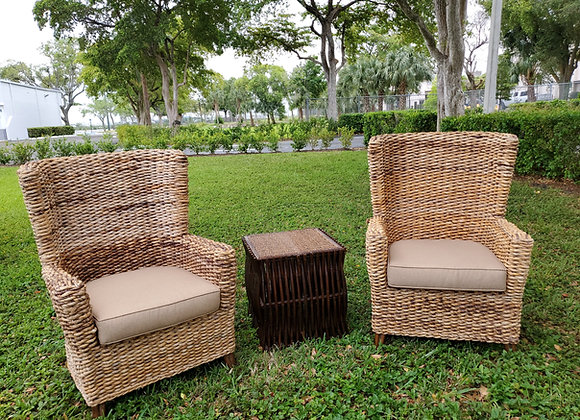 Rattan Wingback Chair