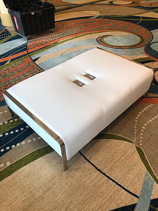 White USB Charge Ottoman