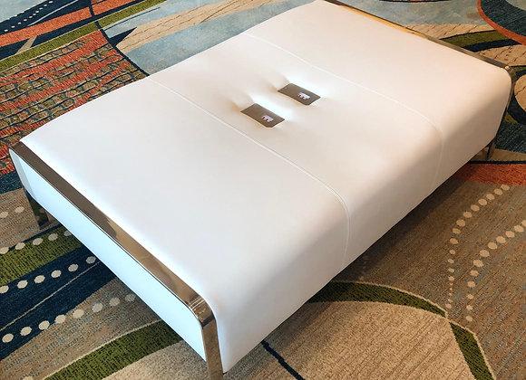 White USB Charge Ottoman