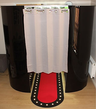 The stylish gloss black photo booth; available to hire!