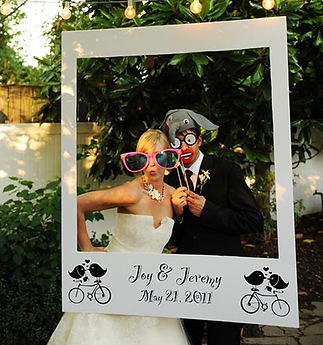 Make a lasting impression with a personalised polaroid frame; available with any photobooth hire package.