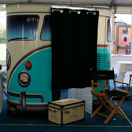 The stylish VW camper van themed photo booth; available to hire!