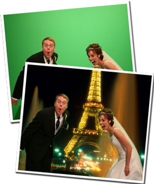 Before and after green screen photobooth photos, showing a bride & groom with a paris eifel tower scene on their wedding day.