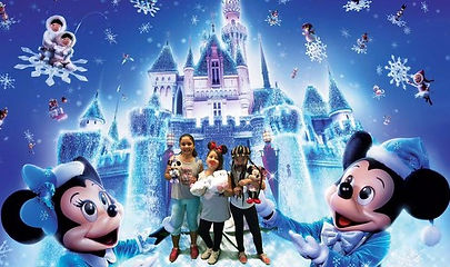 Three children posing with toys in the greenscreen photobooth with a walt disney themed winter background