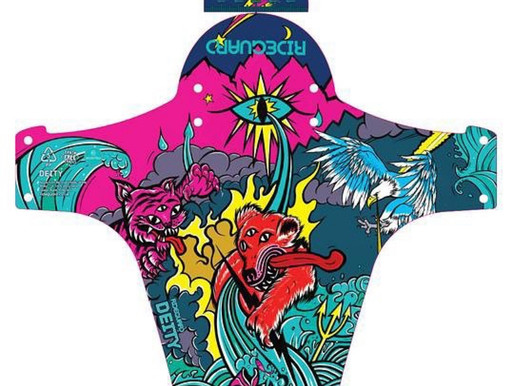 Rideguard Mudguard design made with 100% recycled plastic featuring new 'Deity' illustration