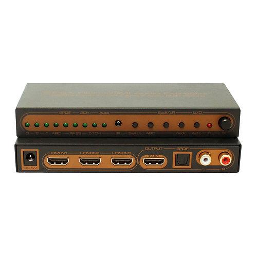 Switch HDMI 4K V2.0 HDR 3x1 portas e Ext. de áudio / ASKHDSW0017M1