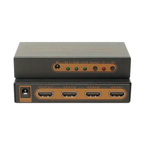 Switch HDMI 4K V2.0 HDR 3x1 portas / ASKHDSW0014M1