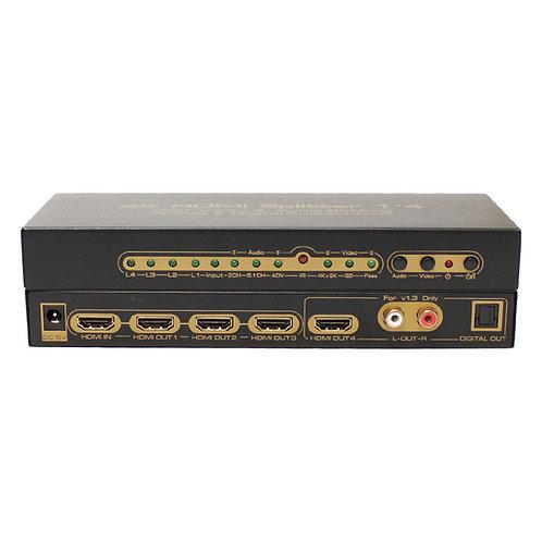 Splitter HDMI 4K 4 portas com Extrator de Áudio / ASKHDSP001M1
