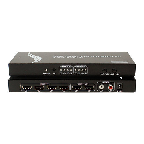 Matrix HDMI 4K 4x2 portas com saída de áudio L/R / SWHMT-HD4X2