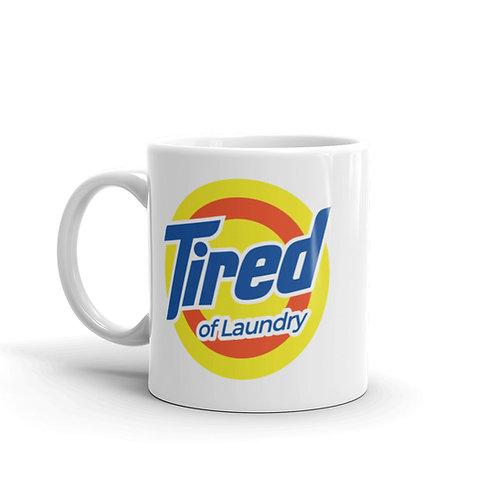 Tired of Laundry Funny Logo Parody Mug
